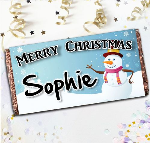 Personalised Merry Christmas Milk Chocolate Bar - Christmas Stocking Filler Gift N50